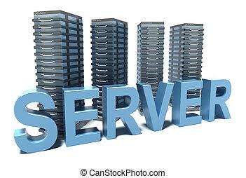 Server word in front of grey Servers