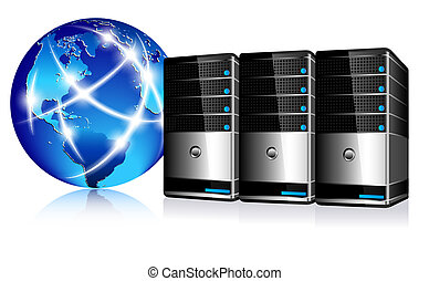 Server concept, Communication Internet Globe and servers. All elements are on individual layers in the vector file for easy use