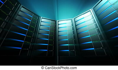 Network servers with blinking lights. Hi tech glowing and shining atmosphere. Seamless loop panorama.