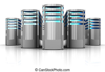 servers - 3d illustration of servers row over white...