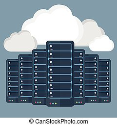 Servers data-center,cloud computing concept
