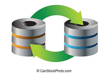 servers Database backup concept illustration design over...