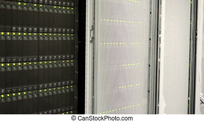 Servers full of data blinking