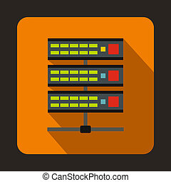 Servers icon in flat style