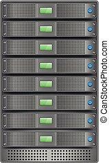 Servers in installed in rack