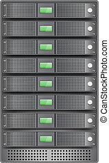 Servers in installed in rack. Vector illustration