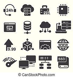 servers, netværk, sæt, hosting, iconerne