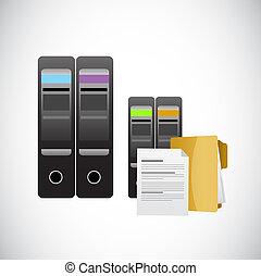 servers, og, magasinering data, illustration