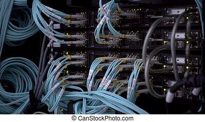 Servers racks close up in Modern data center. Cloud computing datacenter server room