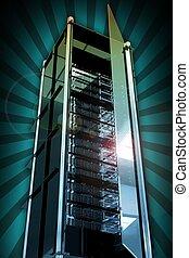 Servers Tower with Open Glass Door. Cool Glassy-Metal Server...