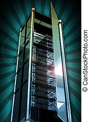 Servers Tower with Open Glass Door. Cool Glassy-Metal Server...