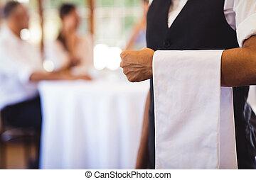 servett, restaurang, stående, servitris
