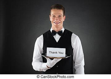serveur, à, merci, signe