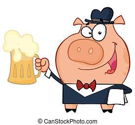 serveur, bière, cochon