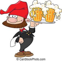 serveur, bière, gnome