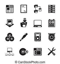 serveur, côté, icônes ordinateur