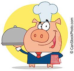 serveur, chefs, gentil, chapeau, cochon