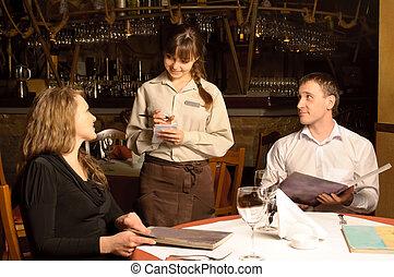 serveur, clients, ordre, prendre, restaurant