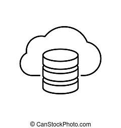 serveur, contour, nuage, icône