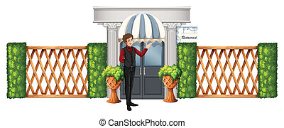 serveur, dehors, restaurant