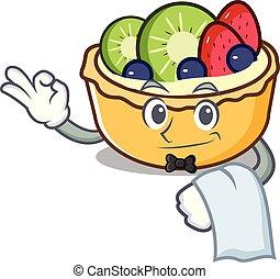 serveur, fruit, dessin animé, tarte, mascotte