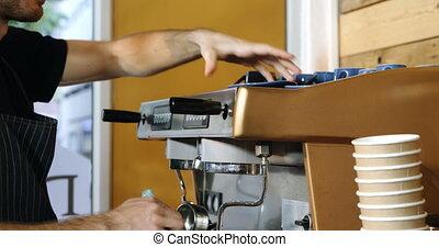 serveur, machine, cafetière, mâle, nettoyage, 4k