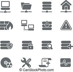 serveur, réseau, icônes