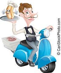 serveur, scooter, chien, chaud, vélomoteur, dessin animé