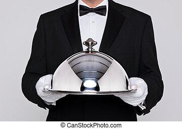 serveur, tenue, a, argent, cloche