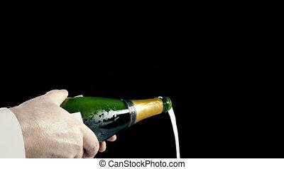 serveur, verse, champagne, bruits secs, bouchon