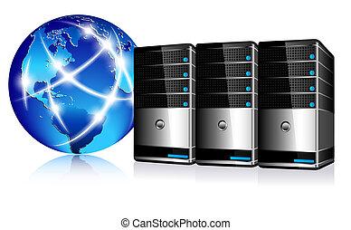 serveurs, et, communication, internet