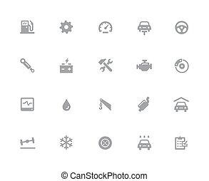 //, serviço, ícones, car, 32px, série, branca