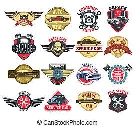 serviço, ícones, car, moto, automático, motocicleta, ou