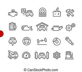 //, serviço, ícones, car, ponto, série, vermelho