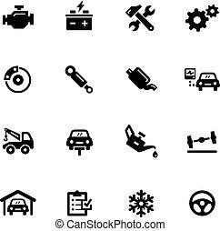 serviço, ícones, --, car, pretas, série