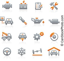 serviço, ícones, série, -, grafita, car