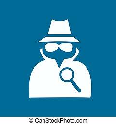 serviço, agente secreto, suit., ícone, homem