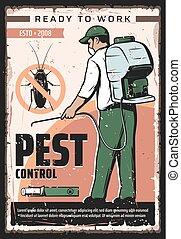 serviço, animal estimação, exterminação, doméstico, inseto, controle