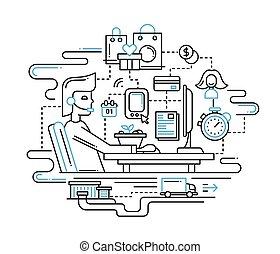 serviço, apoio, -, ilustração, entrega, desenho, linha
