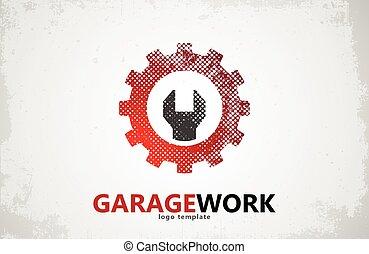 serviço, automático, trabalho, garagem, repair., logo.