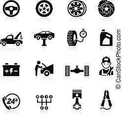 serviço carro, ícone, set1.