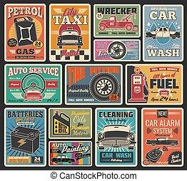serviço carro, e, auto repare, garagem, retro, cartões