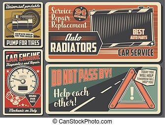 serviço carro, e, auto repare, retro, signboard