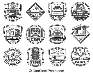 serviço carro, e, garagem, vetorial, ícones