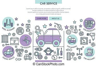serviço carro, ilustração