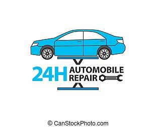 serviço carro, mecânico, trabalhando, em, garagem, reparar, serviço