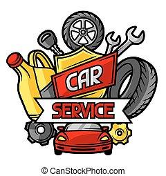 serviço carro, objetos, itens, conceito, reparar
