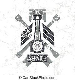 serviço carro, pistão, emblema