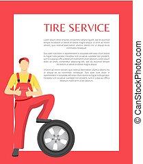 serviço, cartaz, ilustração, vetorial, feliz, homem