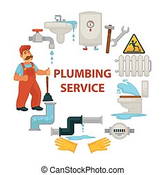 serviço, cartaz, trabalhador, promocional, quebrada, engenharia, encanamento, sanitário